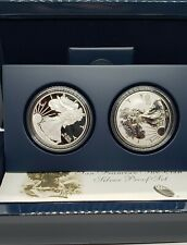 Beautiful 2012-S Silver Eagle Proof & Reverse Proof set with COA and box