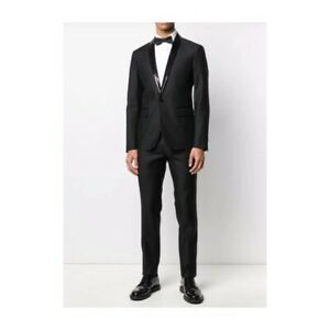 Dsquared2 Mens Sequin Collar Single Breasted Suit in Black IT 54 US 44 $2845 NWT