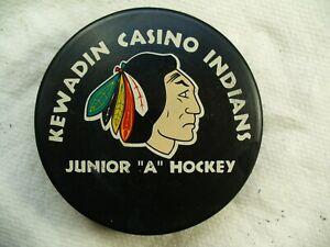 NAHL Kewadin Casino Indians Vintage Team Logo Official Hockey Puck Collect Pucks