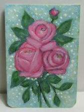ACEO Original Miniature Painting, REALLY PINK ROSES, From Mini Art Journal