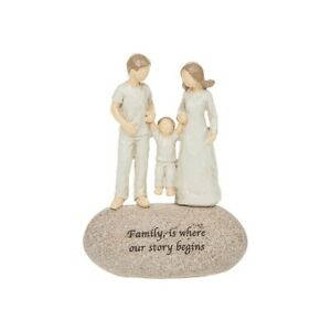 Angel Sentiment Stone FAMILY is where the Story Begins Pebble Ornament Gift