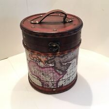 Decorative Wood And Leather Storage Box / Container With Map Design