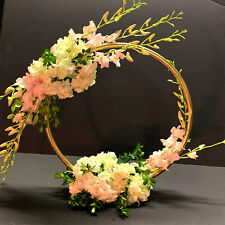 """20"""" Round Circle Ring Moon Hoop Wreath Table Wedding Centerpiece White Gold Silv"""