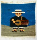 Vintage Small Miniature Mexican Loom Weaving Blanket Drummer Sombrero Poncho