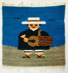 Vintage Small Miniature Mexican Loom Weaving Blanket Drummer Sombrero Poncho