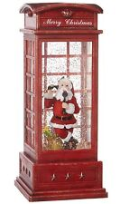 SANTA RED PHONE BOOTH Lighted Water LANTERN Snow Globe timer Raz 3800789 NEW