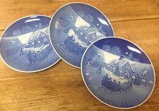 Bing & Grondahl 1969 Christmas 3 Plates Danish No Box Arrival of Guests Sleigh