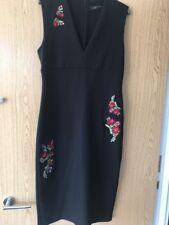 Zara Woman Black Sleeveless Dress With Floral Embellishment Size Large. Bnwtags
