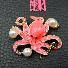 New Pearl Lovely Pink Rhinestone Octopus Betsey Johnson Charm Brooch Pin Gift
