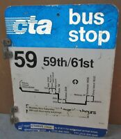 Vtg 2 Sided CTA Bus Stop 59 59th Chicago Aluminum Sign 24 x 18 S674