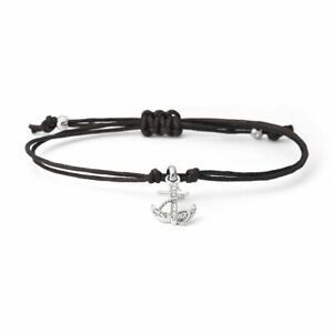 "Black Leather/Stainless Steel Anchor Bracelet by ""FOSSIL""+Gift Bag & Tin – BNWT"
