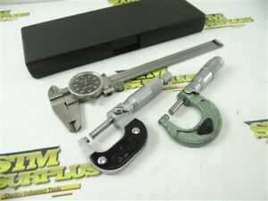 """6"""" DIAL CALIPERS SHOCK PROOF W/ CASE + TWO 0-1"""" OUTSIDE MICROMETERS .0001"""""""