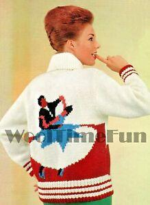 Knitting Patterns Ladies Vintage 1950s Ballroom Dancing Motif Cardigan/Jacket.