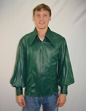 Vintage 60's Men's Mod Green Pirate Poet Renaissance Shirt By Jack McConnell  XL