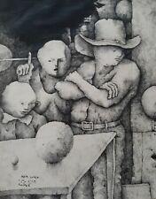 HAIM COHEN HOOPER , Ink on Paper, Surreal Figures, Signed