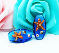 10pcs handmade Lampwork glass Beads blue orange Starfish 10*15*30mm