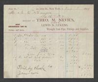 1899 THEO M NEVIUS { WROUGHT IRON PIPE ETC } NEW YORK NY ANTIQUE BILLHEAD