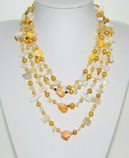 Of Pearls Chips Multi Strand Necklace Beautiful Golden Cultured Pearls & Mother