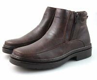 Mens Brown Faux Fur Lined Boots Leather Look Winter Casual Smart All Sizes
