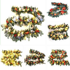 More details for 9ft pre lit christmas garland with light door wreath xmas party deco celebration