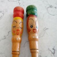 Vintage Wooden Salad Servers Hand Painted Faces Red / Green Chef Hats Fork Spoon