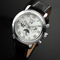 Mens Watch Automatic White Dial Stainless Steel Case Moon Phase Date Display