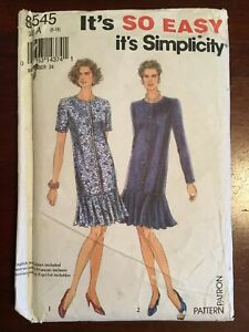 New FactoryFolded Vintage 1993  SIMPLICITY Miss Dress Pattern No 8545  Size 6-16