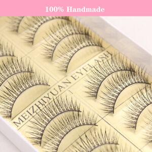 10Pairs Natural Fashion Handmade False Eyelashes Thick Black Long Lashes Makeup