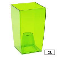Medium GREEN Square Transparent Home Office Desk Orchid Flower Pot 20cm Tall