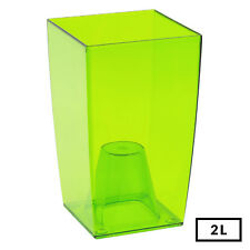 Medium GREEN Square Transparent Home Office Desk Orchid Flower Pot 20cm Tall