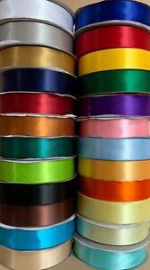 FLAT SATIN RIBBON 25mm width 24 colours various lengths