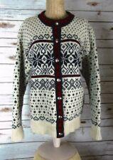 Vtg LL Bean Womens M Ivory Red Nordic Cardigan Sweater Fair Isle Wool Hearts USA