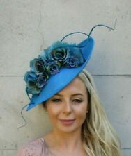 Large Teal Turquoise Blue Flower Feather Teardrop Fascinator Hat Headband 7192