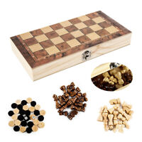 3 in 1 Wooden Pieces Folding Board Chess Set Draughts Backgammon Game Gifts