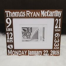 Custom Personalized Baby Birth Announcement Frame (wood or gray)