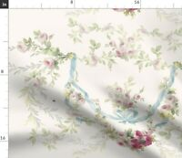 Flowers Floral Ribbons Romantic Roses Rococo Spoonflower Fabric by the Yard