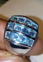 14 K Solid White Gold Natural Blue Topaz Gem Stone Men's Ring Us Size 7 8 9