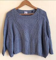 CAbi #3481 Semi Cropped Blue Gray Sweater Small