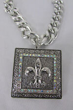 New women silver metal plate scarf necklace pendant charm fleur de lis flower