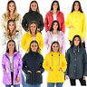 Ladies Womens Girls Rubberised Waterproof Rain Coat  PU PVC Hooded Parka Jacket