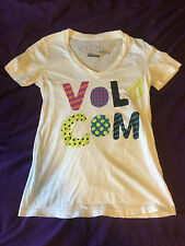 "Official Volcom Woman's Small (S) Solid White ""Stone is Art"" Casual Basic Tee!"