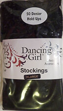 Dancing Girl XL Size Lace Top 50 Denier Opaque Hold-ups Stockings in Black