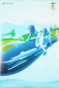 Original Poster Vintage Vancouver Hiver Olympiques Bobsleigh Bobsled Speed Neige