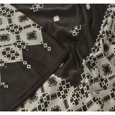 Sanskriti Vintage Black Saree Art Silk Printed Sari Decor Soft 5Yd Craft Fabric