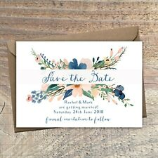 Personalised Save the Date Cards BLUSH & NAVY FLORAL packs of 10