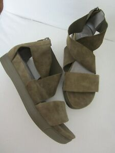 EILEEN FISHER Sport Suede Sandals Olive Green Comfort wedge Size 9.5 NEW