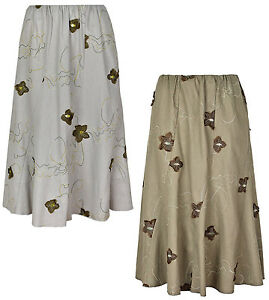 Ladies/Womens Floral Embroidery Skirt, Elasticated Waist, 27
