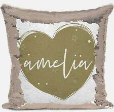 Personalised Heart Design Any Name Magic Reveal Gold Sequin Cushion Cover Gift