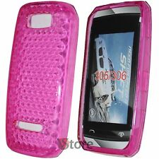 Cover Case For Nokia Asha 305 306 Gel Silicone TPU Fuchsia Diamond