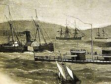 Queenstown Ireland U.S. IRON-CLAD MIANTONOMOH 1866 Antique Engraving Art Matted